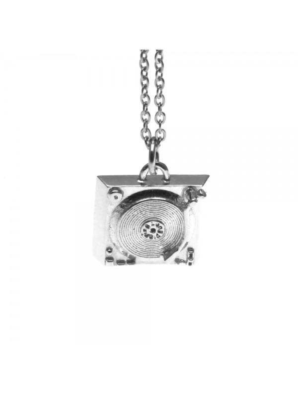 Collana con vecchio giradischi ciondolo in argento 925 cln0189