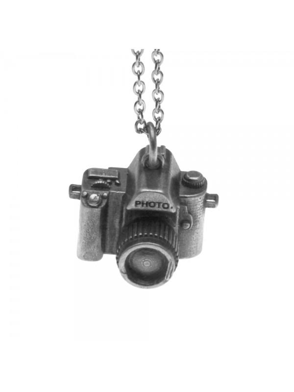 Collana con macchina fotografica reflex ciondolo in argento invecchiato cln0191
