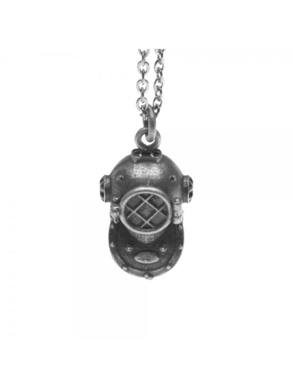 Collana con scafandro casco palombaro ciondolo in argento invecchiato cln0195