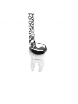 Collana con dente molare ciondolo in argento 925 cln0208