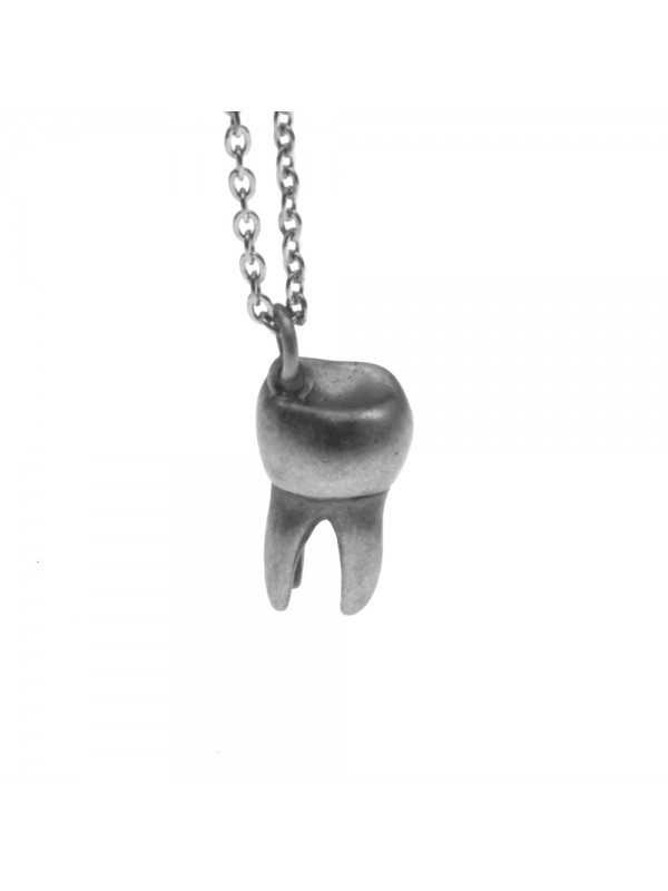 Collana con dente molare ciondolo in argento invecchiato cln0217