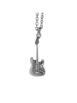 Collana con chitarra elettrica ciondolo in argento invecchiato cln0224