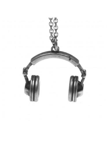 Collana con cuffie musicali ciondolo in argento invecchiato cln0236