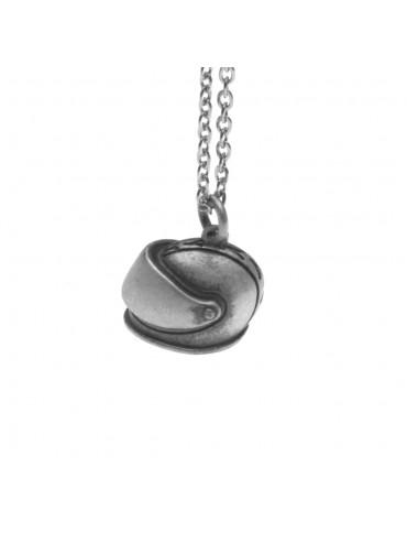 Collana con casco da moto ciondolo in argento invecchiato cln0238