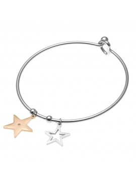 Bracciale donna rigido con stelle o stelline in acciaio - bcc0610