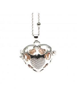 Chiama angeli a cuore collana donna in gravidanza in bronzo e strass - cll1388