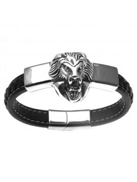 Bracciale uomo con testa di leone in acciaio e pelle - bcc0157