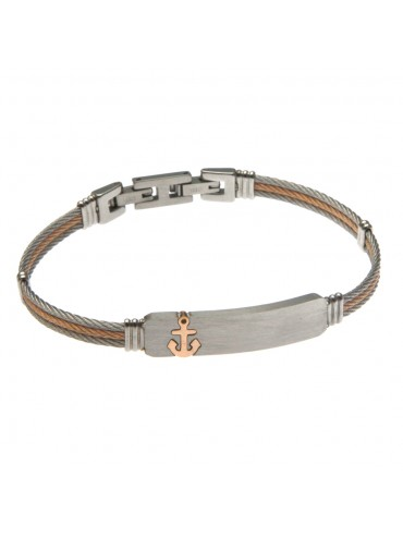 bracciale in acciaio cavetto con simbolo ancora - bcc0889