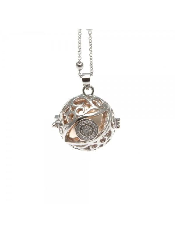 chiama angeli collana donna in bronzo strass campanellino per gravidanza - cll1765