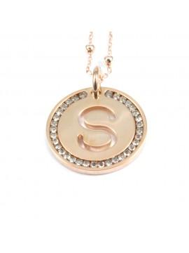 collana con lettera s iniziale ciondolo in bronzo ramato - cll1319