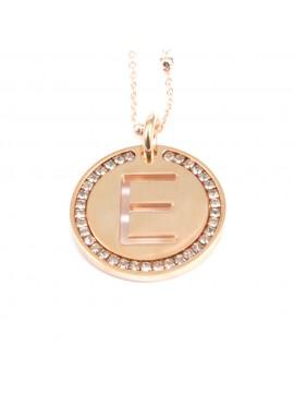 collana con lettera e iniziale ciondolo in bronzo ramato - cll1309