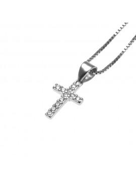 Collana croce donna in argento 925 e strass - cll0644