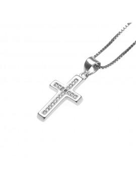 Collana croce donna in argento 925 e strass - cll1109