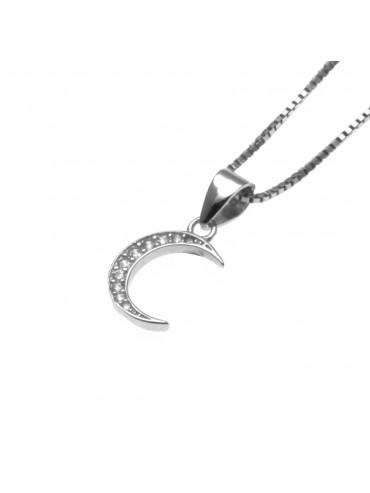 collana luna donna ciondolo argento 925 e strass - cll1372