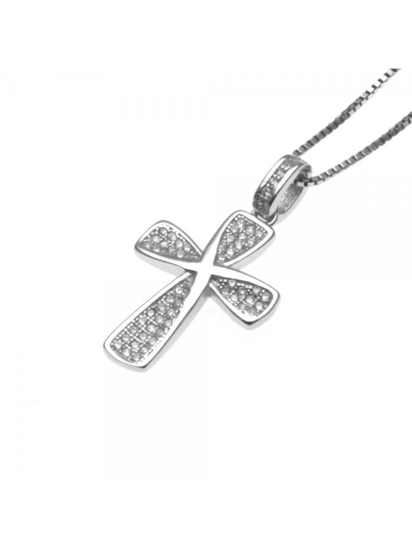 Collana con croce ciondolo donna in argento 925 - cln0339
