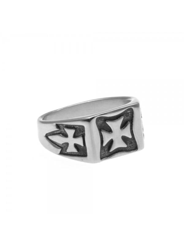 anello uomo con croce di malta in acciaio misura 16
