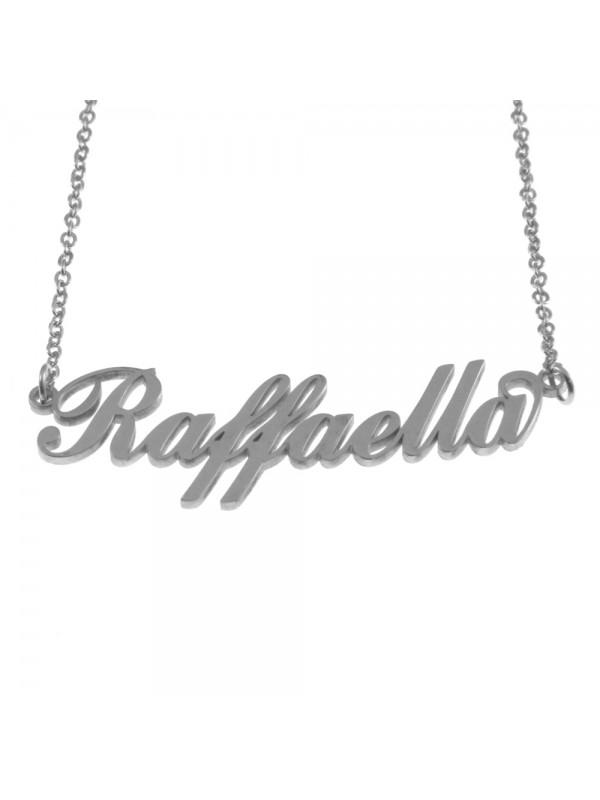 Collana con nome raffaella in acciaio cll0541