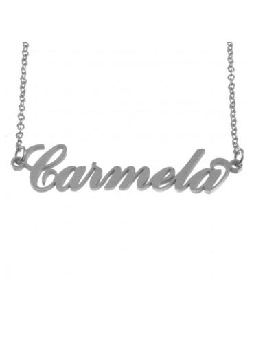 Collana con nome carmela in acciaio cm 50 cll0558