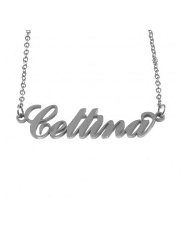 Collana con nome cettina in acciaio cll0563