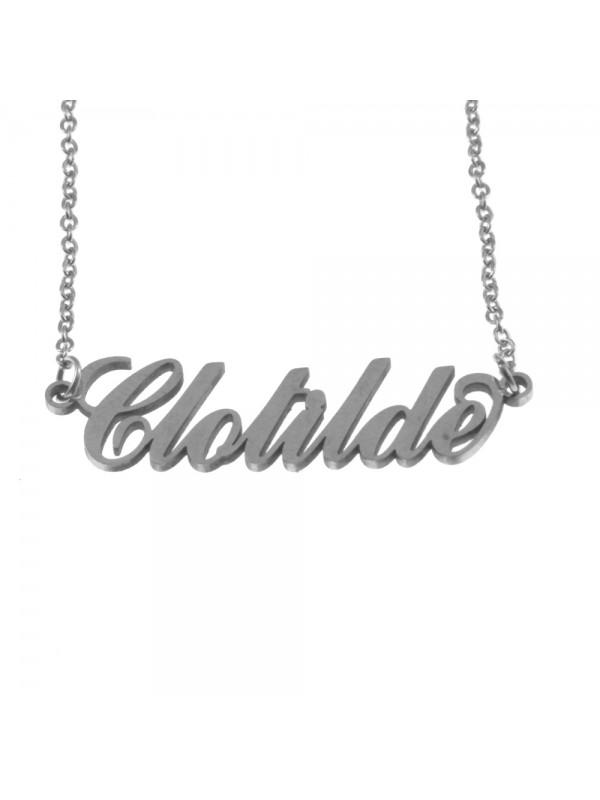 Collana con nome clotilde in acciaio cll0564