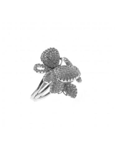 Anello donna con farfalle in argento - all0001