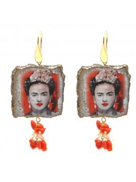 Orecchini frida kahlo donna pietra lavica occ0068