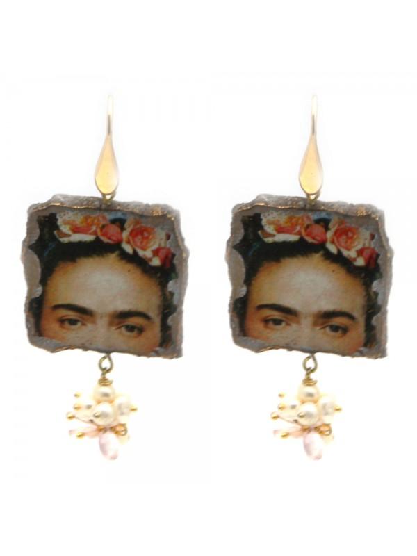 Orecchini frida kahlo donna pietra lavica occ0069
