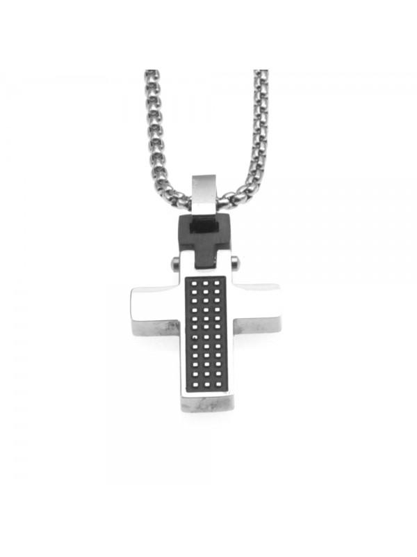 Collana croce uomo in acciaio cll0698