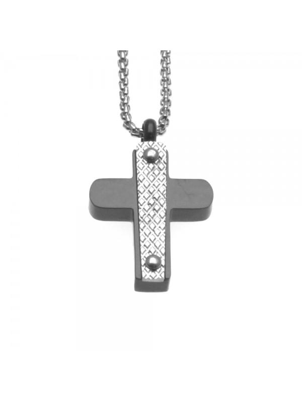 Collana croce uomo in acciaio cll0699