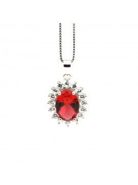 Collana ciondolo donna argento colore rubino cll0625