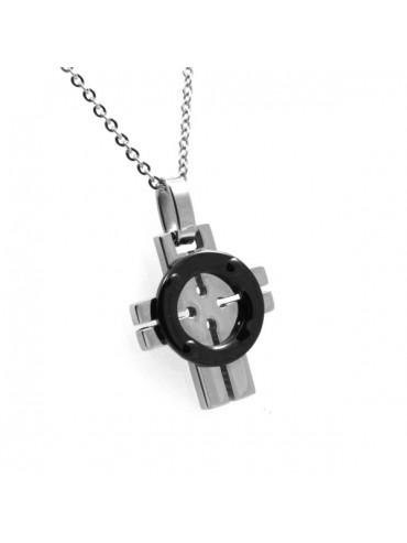 Collana con croce in acciaio