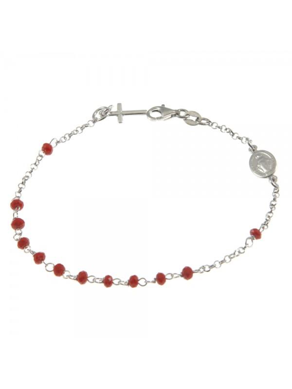 bracciale rosario in argento postine rosse - bcc1173
