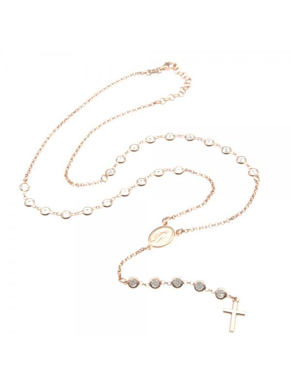 Collana rosario argento ramato postine di strass cll0826