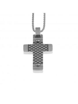 Collana croce uomo in acciaio cln0033