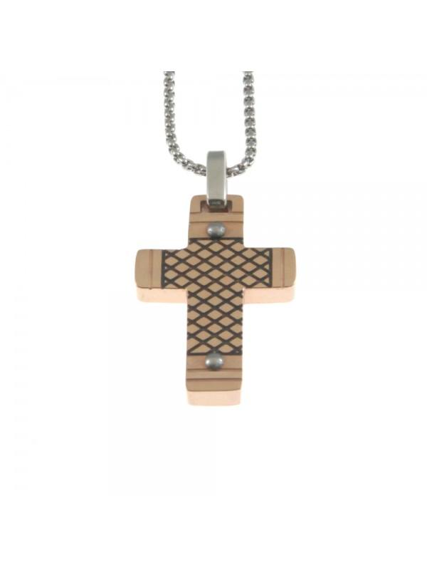 Collana croce uomo in acciaio cln0035