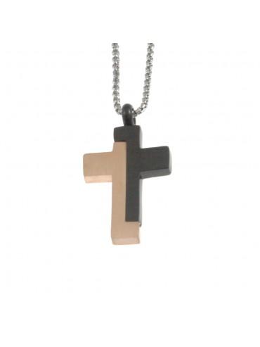 Collana croce uomo in acciaio cln0039