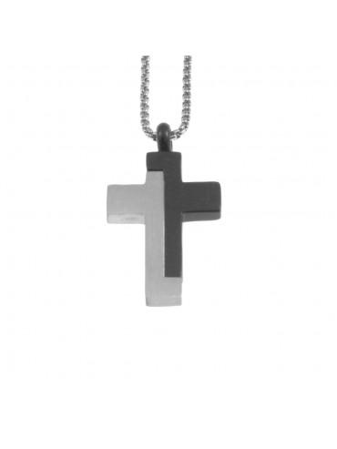 Collana croce uomo in acciaio cln0041