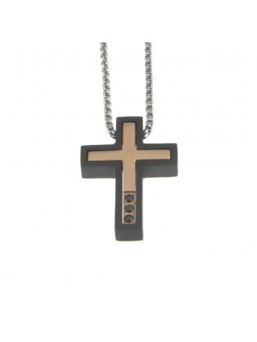 Collana croce uomo in acciaio cln0042