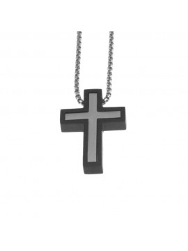 Collana croce uomo in acciaio cln0054