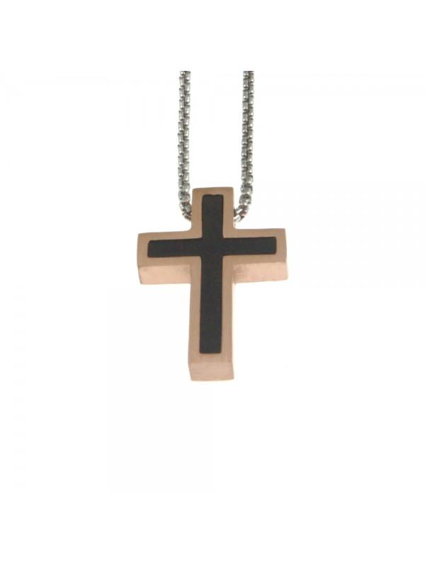 Collana croce uomo in acciaio cln0055