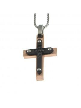 Collana croce uomo in acciaio cln0060