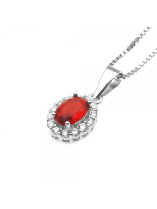 Collana con ciondolo rubino punto luce in argento 925 cln0397