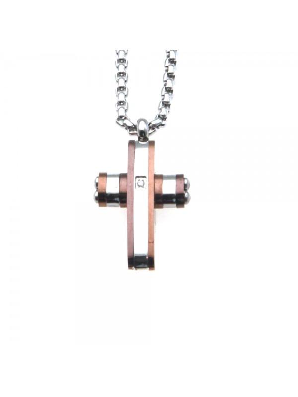 collana croce uomo in acciaio cll0608