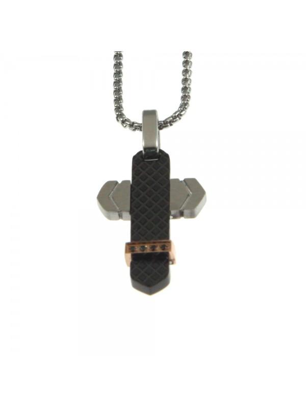 Collana croce uomo in acciaio cll0716
