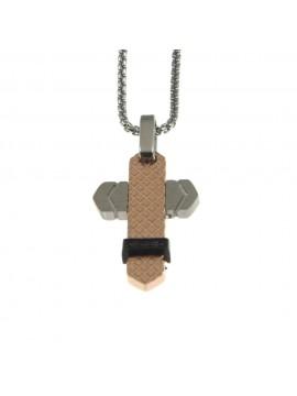 Collana croce uomo in acciaio cll0722