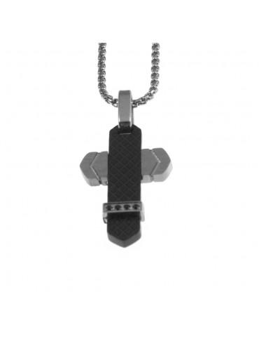 Collana croce uomo in acciaio cll0725