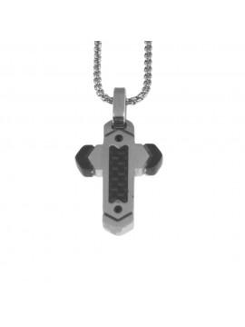 Collana croce uomo in acciaio cll0784