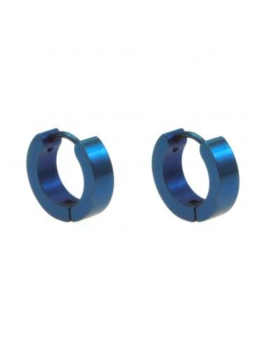 Orecchini uomo cerchio acciaio blu occ0098