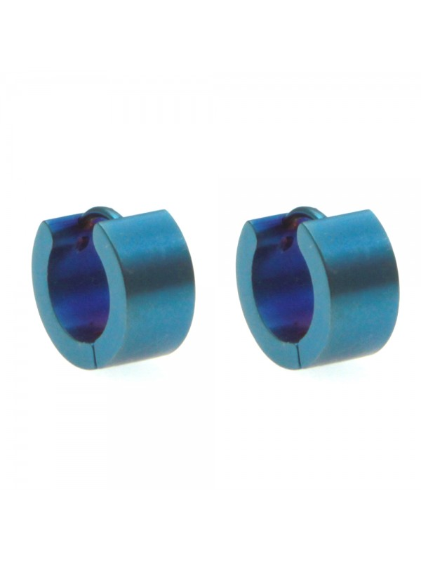 Orecchini uomo cerchio acciaio blu occ0099