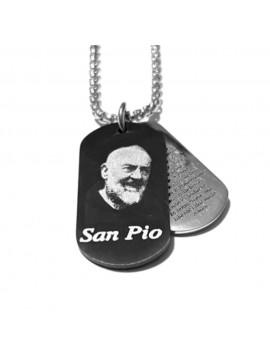Collana san padre pio da Pietralcina in acciaio cll0578